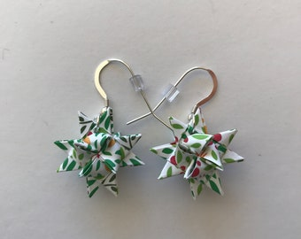 Moravian Star Earrings—Floral Multi-color (001)