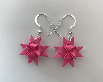 Moravian Star Earrings—Shocking Pink