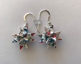 Moravian Star Earrings—Floral Multi-color (004)
