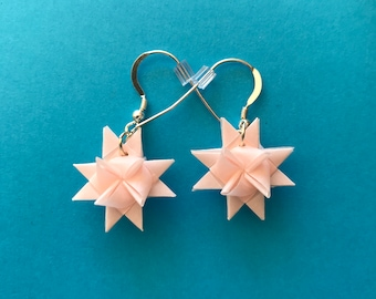 Moravian Star Earrings—Pink Vellum