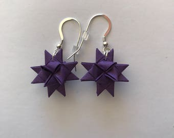 Moravian Star Earrings—Metallic Purple
