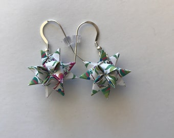 Moravian Star Earrings—Floral Multi-color (003)