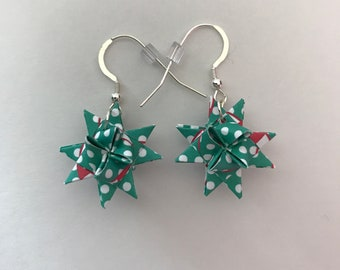 Moravian Star Earrings—Green with White Polka Dots