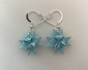 Moravian Star Earrings—Baby Blue