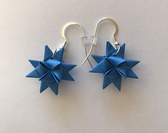 Moravian Star Earrings—Cornflower Blue