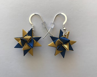 Moravian Star Earrings—Blue & Gold Two-Toned Shimmer