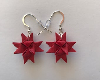 Moravian Star Earrings—Deep Red