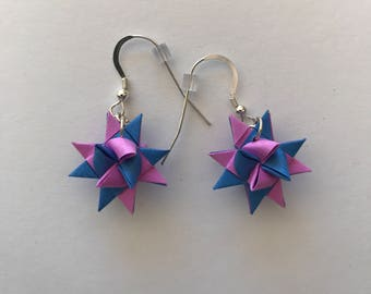 Moravian Star Earrings—Blue & Pink Two-Toned