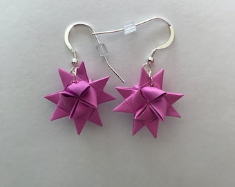 Moravian Star Earrings—Raspberry