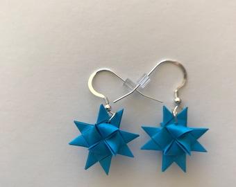 Moravian Star Earrings—Sky Blue