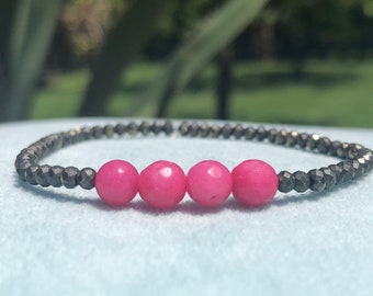 Hot Pink Jade And Black Lava Bracelet Harmony Healing for Men /& Women Perspective Moderation Gift for Men And Women 3871 Tranquility