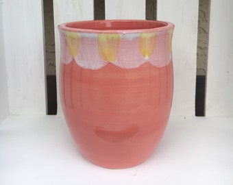 Handmade Ceramic Plant Pot Pink with yellow and white detail