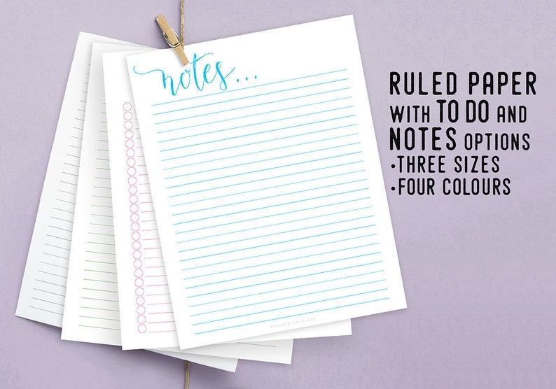 Ruled Paper Printable Organizer Instant Download image 0