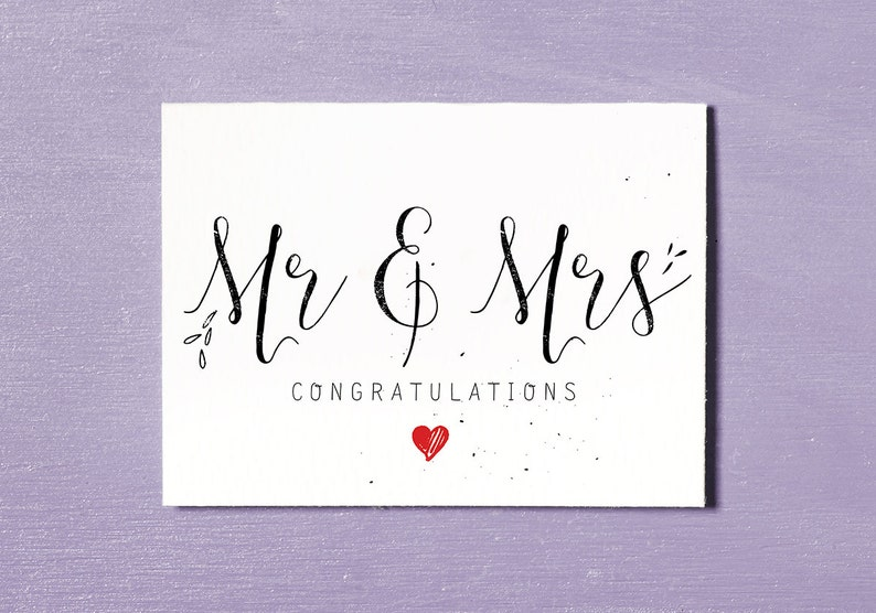 Mr & Mrs Printable Wedding Card Congratulations Bride and image 0