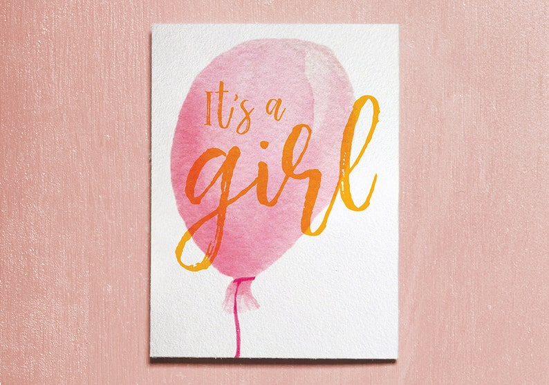 It's A Girl Baby Girl New Baby Card Instant Download image 0