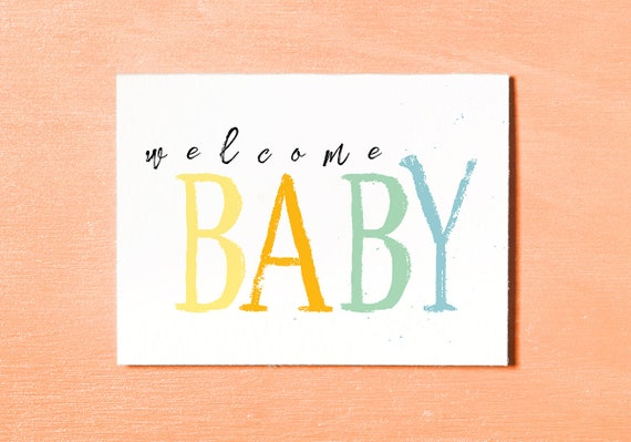 Welcome Baby Card New Baby Card Baby Girl Baby Boy Instant Etsy