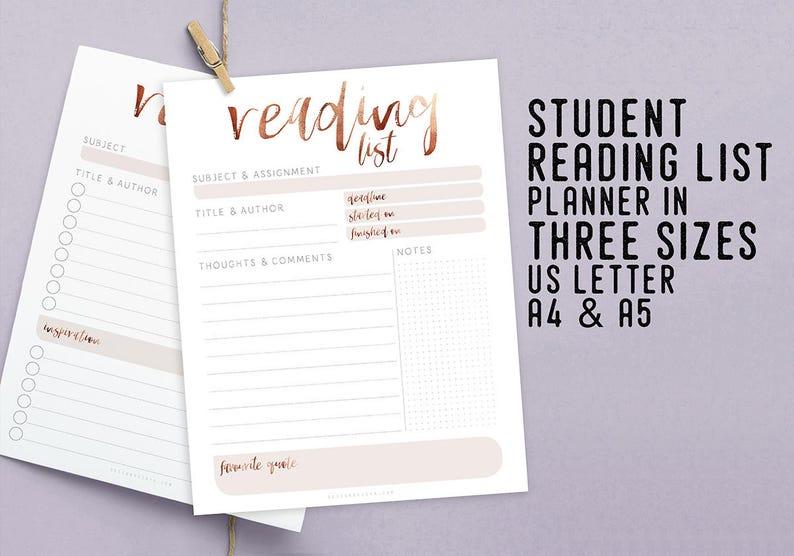 Student Reading List Planner Printable Instant Download image 0
