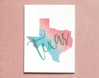 United States, Texas, Printable Art, Travel Poster, Watercolour, Typography Print, Travel Map, Instant Download, Wall Art