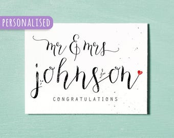 Personalised Mr & Mrs Card, Printable Custom Anniversary Card, Couples Card, Wedding Gift, Wedding Day, Engagement Card, Relationship Card