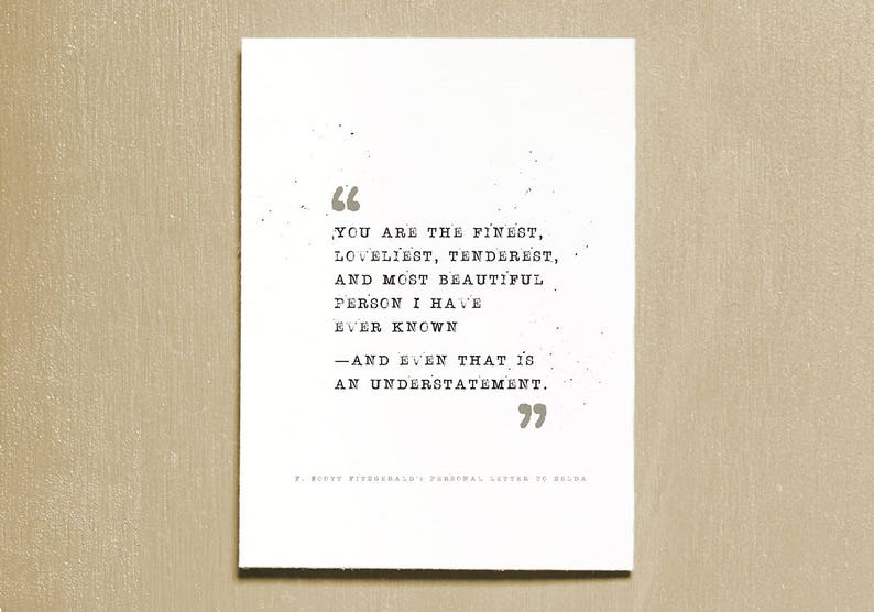 F. Scott Fitzgerald Literary Quote Print Instant Download image 0