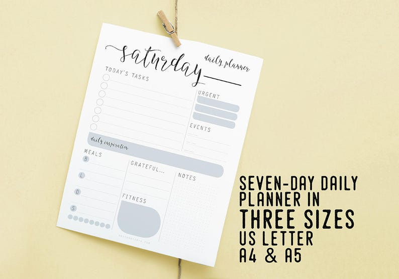 Daily Planner Daily Schedule Printable Instant Download image 0