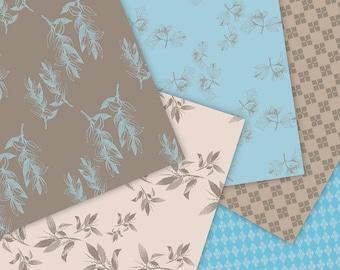 Patterns Set, Scrapbook Floral Printable, Digital Instant Download, Digital Blog Backgrounds, DIY Stationary, Art & Craft, Wrapping Paper