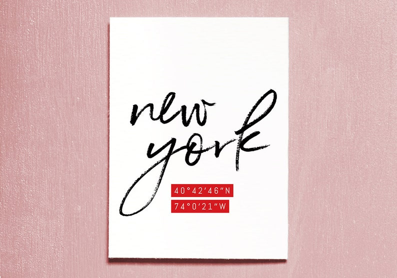 New York Coordinates Printable Instant Download Travel image 0