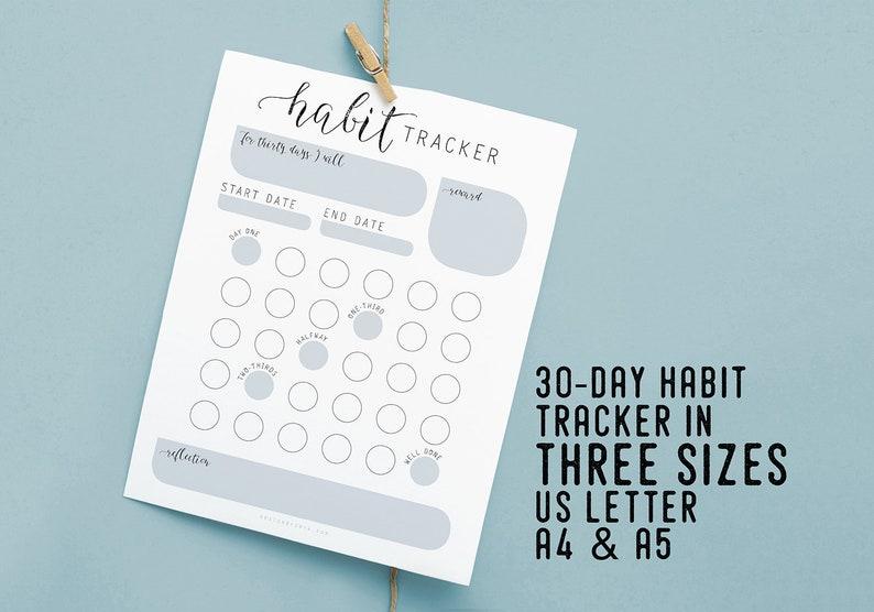 Habit Tracker for 30 days Instant Download Printable image 0