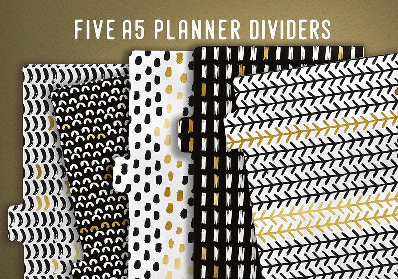 A5 Planner Dividers Instant Download Printable Tabbed image 0