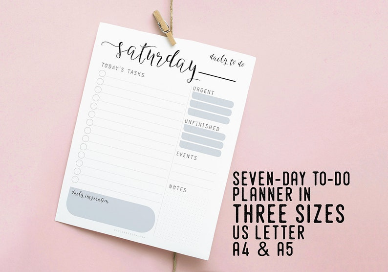 Daily To Do Planner Printable Organizer Instant Download image 0