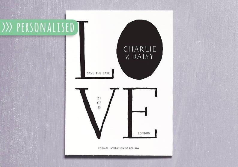 Personalised Save the Date Wedding Printable Digital Invite image 0