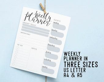 Weekly Printable Planner, Instant Download Insert, Productivity Desk Planner, DIY Planner, Weekly Organizer Agenda, To Do List, Weekly Goals
