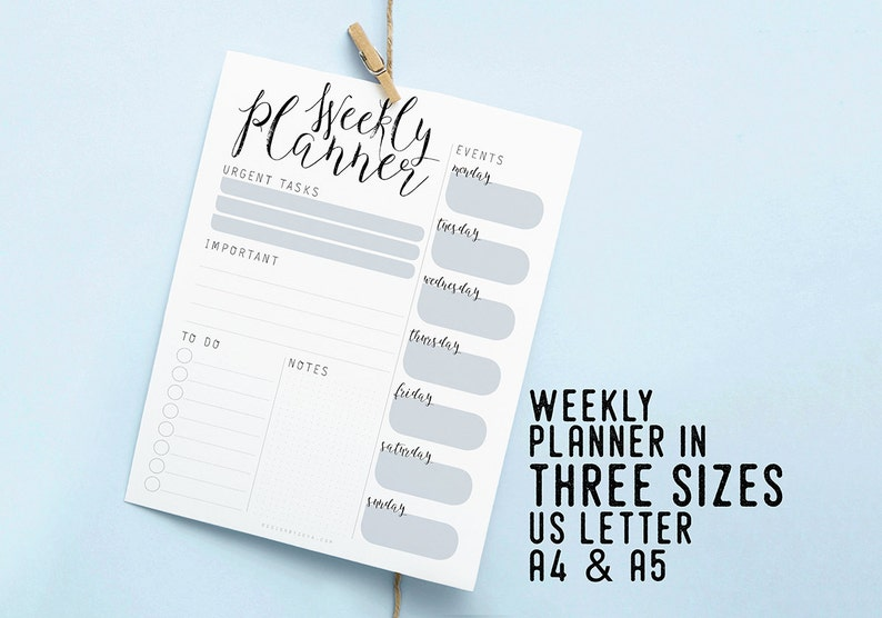 Weekly Printable Planner Instant Download Insert image 0