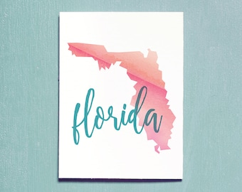 United States, Florida, Printable Art, Travel Poster, Watercolour, Typography Print, Travel Map, Instant Download, Wall Art