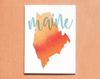 United States, Maine, Printable Art, Travel Poster, Watercolour, Typography Print, Travel Map, Instant Download, Wall Art