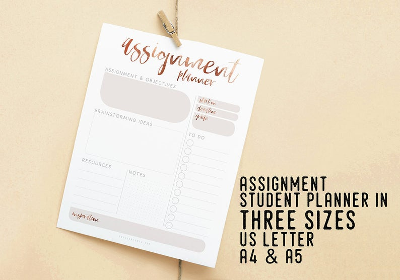 Assignment Student Planner Student Schedule Printable image 0