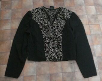 Vintage 80s Shrug Jacket Retro Black Gold Glitter Roses Devore Evening