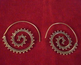 Brass Spiral Gold Tone Tribal Earrings Gypsy Bellydance Ethnic Indian Boho 4cm