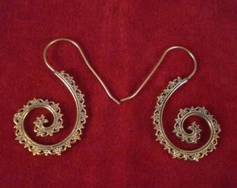 Brass Gold Tone Tribal Long Earrings Gypsy Bellydance Ethnic Indian Boho 5cm