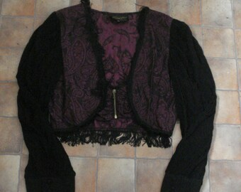 Vintage 80s Paisley Brocade Fringed Bohemian Top Shrug