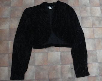 Vintage 80s Black Crushed Velvet Shrug Jacket Bolero