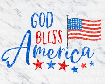 God Bless America (USA Flag) | 4th of July/Independence Day SVG Vinyl Cutting Files - Dxf - Eps - SVG - Pdf - Png