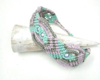 Boho bracelet in macrame, textile fiber bracelet, handcrafted jewellery.