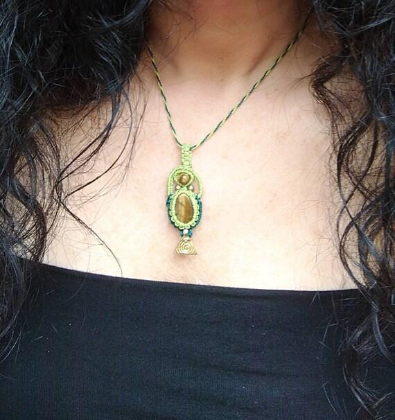 Dendritic Quartz macrame necklace All Chakras amulet