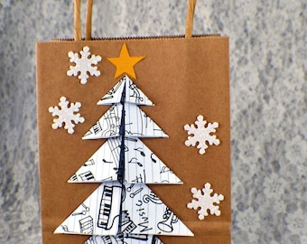 brown bag with Christmas embellishment