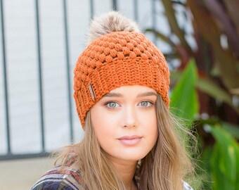 Crochet Beanie, Faux Fur Pom Beanie, Pom Pom Beanie, Orange Beanie, Beanie, Fall Beanie, Crochet Pom Beanie,  Winter Beanie, Fall