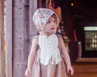 Fringe Baby Bib, Cotton Baby Bib, Baby Easter Outfit, Boho Baby Bib, Baby Bib with Fringe, Bohemian Style Baby Bib, Boho Baby Accessories