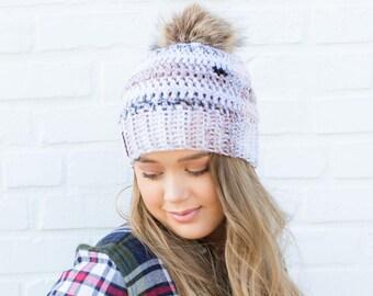 Faux Fur Pom Beanie, Pom Pom Beanie, Crochet Beanie, Neutral Beanie, Green Beanie, Fall Beanie, Crochet Pom Beanie,  Winter Beanie, Fall