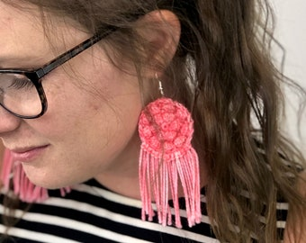 Bright pink bohemian earrings with fringe