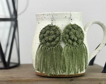 Handmade Boho Earrings, Earrings with Fringe, Olive Green Earrings, Crochet Earrings, Fringe Earrings, Handmade Bohemian Earrings, Earrings